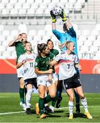 19 September 2020; Marie Hourihan of Republic of Ireland gathers the ball during the UEFA Women's 2021 European Championships Qualifier Group I match between Germany and Republic of Ireland at Stadion Essen in Essen, Germany. Photo by Marcel Kusch/Sportsfile