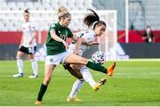 19 September 2020; Denise O'Sullivan of Republic of Ireland in action against Sara Däbritz of Germany during the UEFA Women's 2021 European Championships Qualifier Group I match between Germany and Republic of Ireland at Stadion Essen in Essen, Germany. Photo by Marcel Kusch/Sportsfile