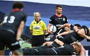 19 September 2020; Assistant referee Joy Neville during the Heineken Champions Cup Quarter-Final match between Leinster and Saracens at the Aviva Stadium in Dublin. Photo by Ramsey Cardy/Sportsfile