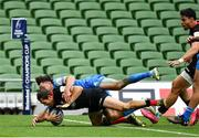 19 September 2020; Alex Goode of Saracens dives over to score his side's first try despite the tackle of Hugo Keenan of Leinster during the Heineken Champions Cup Quarter-Final match between Leinster and Saracens at the Aviva Stadium in Dublin. Photo by Brendan Moran/Sportsfile