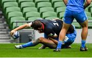 19 September 2020; Alex Goode of Saracens scores his side's first try despite the tackle of Hugo Keenan of Leinster during the Heineken Champions Cup Quarter-Final match between Leinster and Saracens at the Aviva Stadium in Dublin. Photo by Brendan Moran/Sportsfile