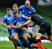 19 September 2020; Sean Cronin of Leinster is tackled by Jamie George and Duncan Taylor of Saracens during the Heineken Champions Cup Quarter-Final match between Leinster and Saracens at the Aviva Stadium in Dublin. Photo by Brendan Moran/Sportsfile