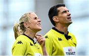 19 September 2020; Assistant referee Joy Neville and referee Pascal Gauzère during the Heineken Champions Cup Quarter-Final match between Leinster and Saracens at the Aviva Stadium in Dublin. Photo by Ramsey Cardy/Sportsfile