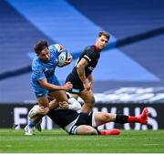 19 September 2020; Hugo Keenan of Leinster is tackled by Elliot Daly of Saracens during the Heineken Champions Cup Quarter-Final match between Leinster and Saracens at the Aviva Stadium in Dublin. Photo by Ramsey Cardy/Sportsfile