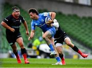 19 September 2020; Hugo Keenan of Leinster is tackled by Elliot Daly of Saracens during the Heineken Champions Cup Quarter-Final match between Leinster and Saracens at the Aviva Stadium in Dublin. Photo by Brendan Moran/Sportsfile