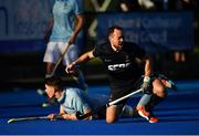 19 September 2020; Andrew Williamson of Lisnagarvey celebrates after scoring his side's third goal during the Men's Hockey Irish Senior Cup Final match between Lisnagarvey and UCD at Lisnagarvey Hockey Club in Lisburn, Down. Photo by Seb Daly/Sportsfile