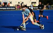 19 September 2020; Ewan Ramsey of UCD in action against Mark McNellis of Lisnagarvey during the Men's Hockey Irish Senior Cup Final match between Lisnagarvey and UCD at Lisnagarvey Hockey Club in Lisburn, Down. Photo by Seb Daly/Sportsfile