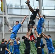 19 September 2020; Maro Itoje of Saracens wins possession in the lineout ahead of James Ryan and Ryan Baird of Leinster during the Heineken Champions Cup Quarter-Final match between Leinster and Saracens at the Aviva Stadium in Dublin. Photo by Ramsey Cardy/Sportsfile