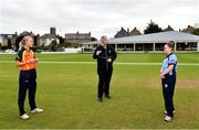 20 September 2020; Match referee Kevin Gallagher with team captains Gaby Lewis of Scorchers, left, and Laura Delany of Typhoons during the coin toss prior to the Women's Super Series match between Typhoons and Scorchers at Merrion Cricket Club in Dublin. Photo by Seb Daly/Sportsfile