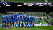 19 September 2020; Leinster captain Jonathan Sexton speaks to his team-mates  during the Heineken Champions Cup Quarter-Final match between Leinster and Saracens at Aviva Stadium in Dublin. Photo by Brendan Moran/Sportsfile
