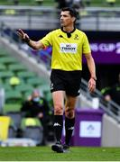 19 September 2020; Referee Pascal Gauzère during the Heineken Champions Cup Quarter-Final match between Leinster and Saracens at Aviva Stadium in Dublin. Photo by Brendan Moran/Sportsfile