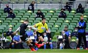 19 September 2020; Leinster substitutes watch as Elliot Daly of Saracens kicks a penalty during the Heineken Champions Cup Quarter-Final match between Leinster and Saracens at Aviva Stadium in Dublin. Photo by Brendan Moran/Sportsfile