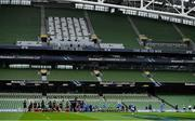 19 September 2020; The Leinster team make their way onto the pitch in front of empty stands prior to the Heineken Champions Cup Quarter-Final match between Leinster and Saracens at Aviva Stadium in Dublin. Photo by Brendan Moran/Sportsfile