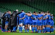 19 September 2020; The Leinster squad huddle after the Heineken Champions Cup Quarter-Final match between Leinster and Saracens at Aviva Stadium in Dublin. Photo by Brendan Moran/Sportsfile
