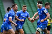 19 September 2020; Jordan Larmour of Leinster celebrates after scoring his side's second try during the Heineken Champions Cup Quarter-Final match between Leinster and Saracens at Aviva Stadium in Dublin. Photo by Brendan Moran/Sportsfile