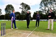 20 September 2020; Match referee Mark Hawthorne, centre, makes the toss alongside Jack Tector of YMCA, left, Nigel Jones of CIYMS, second from right, and former Irish Cricketer and commentator Kyle McCallan ahead of the All-Ireland T20 European Cricket League Play-Off match between CIYMS and YMCA at CIYMS Cricket Club in Belfast. Photo by Sam Barnes/Sportsfile