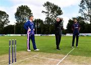 20 September 2020; Match referee Mark Hawthorne, centre, makes the toss alongside Jack Tector of YMCA, left, Nigel Jones of CIYMS, right, ahead of the All-Ireland T20 European Cricket League Play-Off match between CIYMS and YMCA at CIYMS Cricket Club in Belfast. Photo by Sam Barnes/Sportsfile