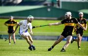 20 September 2020; Darragh Reen of Tralee Parnells in action against Mike Milner of Dr Crokes during the Kerry County Intermediate Hurling Championship Final match between Dr Crokes and Tralee Parnell's at Austin Stack Park in Tralee, Kerry. Photo by David Fitzgerald/Sportsfile