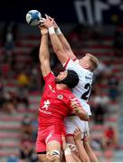 20 September 2020; Kieran Treadwell of Ulster and Francois Cros of Toulouse contest for the ball in the lineout during the Heineken Champions Cup Quarter-Final match between Toulouse and Ulster at Stade Ernest Wallon in Toulouse, France. Photo by Manuel Blondeau/Sportsfile