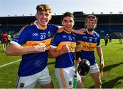 20 September 2020; Kiladangan players, from left, Tom O'Mara, goalscorer Bryan McLoughney and Sean Hayes celebrate after the Tipperary County Senior Hurling Championship Final match between Kiladangan and Loughmore-Castleiney at Semple Stadium in Thurles, Tipperary. Photo by Ray McManus/Sportsfile