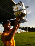 20 September 2020; Knockmore captain David McHale lifts the cup following the Mayo County Senior Football Championship Final match between Breaffy and Knockmore at Elvery's MacHale Park in Castlebar, Mayo.  Photo by Eóin Noonan/Sportsfile