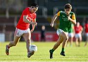 20 September 2020; Lee Brennan of Trillick St. Macartan's in action against Mark McKearney of Dungannon Thomas Clarkes during the Tyrone County Senior Football Championship Final match between Trillick St. Macartan's and Dungannon Thomas Clarkes at Healy Park in Omagh, Tyrone. Photo by Ramsey Cardy/Sportsfile