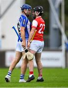 20 September 2020; Conal Keaney of Ballyboden St Enda's and Colum Sheanon of Cuala in conversation before they were both sent off for a second yellow card by referee Seán Stack during the Dublin County Senior Hurling Championship Final match between Ballyboden St Enda's and Cuala at Parnell Park in Dublin. Photo by Piaras Ó Mídheach/Sportsfile