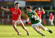 20 September 2020; Ryan Jones of Dungannon Thomas Clarkes in action against Lee Brennan of Trillick St. Macartan's during the Tyrone County Senior Football Championship Final match between Trillick St. Macartan's and Dungannon Thomas Clarkes at Healy Park in Omagh, Tyrone. Photo by Ramsey Cardy/Sportsfile