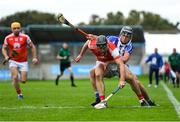 20 September 2020; Mark Schutte of Cuala is tackled by Luke Corcoran of Ballyboden St Enda's during the Dublin County Senior Hurling Championship Final match between Ballyboden St Enda's and Cuala at Parnell Park in Dublin. Photo by Piaras Ó Mídheach/Sportsfile