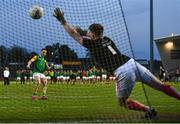 20 September 2020; Kiefer Morgan of Dungannon Thomas Clarkes scores a penalty past Trillick St. Macartan's goalkeeper Ryan Kelly during a penalty shoot-out during the Tyrone County Senior Football Championship Final match between Trillick St. Macartan's and Dungannon Thomas Clarkes at Healy Park in Omagh, Tyrone. Photo by Ramsey Cardy/Sportsfile