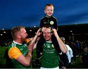 20 September 2020; Connor McKee of Dungannon Thomas Clarkes celebrates with his brother Ryan following the Tyrone County Senior Football Championship Final match between Trillick St. Macartan's and Dungannon Thomas Clarkes at Healy Park in Omagh, Tyrone. Photo by Ramsey Cardy/Sportsfile