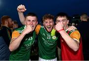 20 September 2020; Dungannon Thomas Clarkes players, from left, Oisin Cowan, Colm Corrigan and Sean Cowan celebrate following the Tyrone County Senior Football Championship Final match between Trillick St. Macartan's and Dungannon Thomas Clarkes at Healy Park in Omagh, Tyrone. Photo by Ramsey Cardy/Sportsfile