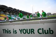 21 September 2020; Shamrock Rovers players warm up prior to the SSE Airtricity League Premier Division match between Shamrock Rovers and Waterford at Tallaght Stadium in Dublin. Photo by Stephen McCarthy/Sportsfile