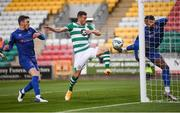21 September 2020; Tunmise Sobowale of Waterford clears a goal bound attempt from Aaron Greene of Shamrock Rovers during the SSE Airtricity League Premier Division match between Shamrock Rovers and Waterford at Tallaght Stadium in Dublin. Photo by Stephen McCarthy/Sportsfile
