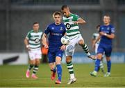 21 September 2020; Graham Burke of Shamrock Rovers in action against John Martin of Waterford during the SSE Airtricity League Premier Division match between Shamrock Rovers and Waterford at Tallaght Stadium in Dublin. Photo by Stephen McCarthy/Sportsfile