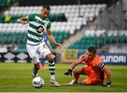 21 September 2020; Graham Burke of Shamrock Rovers in action against Waterford goalkeeper Brian Murphy during the SSE Airtricity League Premier Division match between Shamrock Rovers and Waterford at Tallaght Stadium in Dublin. Photo by Stephen McCarthy/Sportsfile