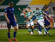 21 September 2020; Lee Grace of Shamrock Rovers celebrates after scoring his side's third goal during the SSE Airtricity League Premier Division match between Shamrock Rovers and Waterford at Tallaght Stadium in Dublin. Photo by Stephen McCarthy/Sportsfile