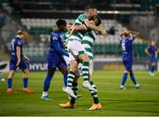 21 September 2020; Jack Byrne is congratulated by his Shamrock Rovers team-mate Aaron Greene, right, after scoring their fourth goal during the SSE Airtricity League Premier Division match between Shamrock Rovers and Waterford at Tallaght Stadium in Dublin. Photo by Stephen McCarthy/Sportsfile