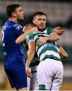 21 September 2020; Jack Byrne, right, congratulates his Shamrock Rovers team-mate Graham Burke on scoring their fifth goal during the SSE Airtricity League Premier Division match between Shamrock Rovers and Waterford at Tallaght Stadium in Dublin. Photo by Stephen McCarthy/Sportsfile