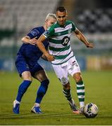 21 September 2020; Graham Burke of Shamrock Rovers in action against Ali Coote of Waterford during the SSE Airtricity League Premier Division match between Shamrock Rovers and Waterford at Tallaght Stadium in Dublin. Photo by Stephen McCarthy/Sportsfile