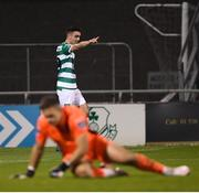 21 September 2020; Dean Williams of Shamrock Rovers celebrates after scoring his side's sixth goal during the SSE Airtricity League Premier Division match between Shamrock Rovers and Waterford at Tallaght Stadium in Dublin. Photo by Stephen McCarthy/Sportsfile