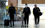 22 September 2020; Dundalk players, from left, Sean Gannon, Daniel Kelly and David McMillan at Dublin Airport as Dundalk depart for their Europa League third qualifying round match against Sheriff in Tiraspol, Moldova. Photo by Matt Browne/Sportsfile