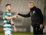 21 September 2020; Jack Byrne of Shamrock Rovers, left, and coach Glenn Cronin, following the SSE Airtricity League Premier Division match between Shamrock Rovers and Waterford at Tallaght Stadium in Dublin. Photo by Stephen McCarthy/Sportsfile