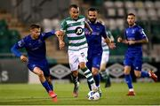 21 September 2020; Graham Burke of Shamrock Rovers in action against Tyreke Wilson, left, and Kurtis Byrne of Waterford during the SSE Airtricity League Premier Division match between Shamrock Rovers and Waterford at Tallaght Stadium in Dublin. Photo by Stephen McCarthy/Sportsfile