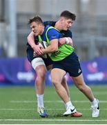 22 September 2020; Michael Silvester, left, is tackled by Joe McCarthy during a Leinster Rugby Academy training session at Energia Park in Dublin. Photo by Ramsey Cardy/Sportsfile