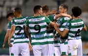 21 September 2020; Lee Grace, second from right, celebrates with Shamrock Rovers team-mates after scoring their third goal during the SSE Airtricity League Premier Division match between Shamrock Rovers and Waterford at Tallaght Stadium in Dublin. Photo by Stephen McCarthy/Sportsfile