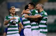 21 September 2020; Roberto Lopes, second from left, is congratulated by Shamrock Rovers team-mates Lee Grace, left, Aaron Greene and Joey O'Brien, right, after scoring their second goal during the SSE Airtricity League Premier Division match between Shamrock Rovers and Waterford at Tallaght Stadium in Dublin. Photo by Stephen McCarthy/Sportsfile