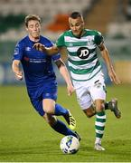 21 September 2020; Graham Burke of Shamrock Rovers in action against William Fitzgerald of Waterford during the SSE Airtricity League Premier Division match between Shamrock Rovers and Waterford at Tallaght Stadium in Dublin. Photo by Stephen McCarthy/Sportsfile