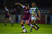 22 September 2020; Jake Hyland of Drogheda United clears ahead of Dean Williams of Shamrock Rovers II during the SSE Airtricity League First Division match between Drogheda United and Shamrock Rovers II at United Park in Drogheda, Louth. Photo by Ben McShane/Sportsfile
