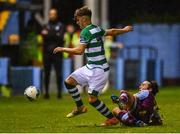 22 September 2020; Kevin Zefi of Shamrock Rovers II in action against James Brown of Drogheda United during the SSE Airtricity League First Division match between Drogheda United and Shamrock Rovers II at United Park in Drogheda, Louth. Photo by Ben McShane/Sportsfile